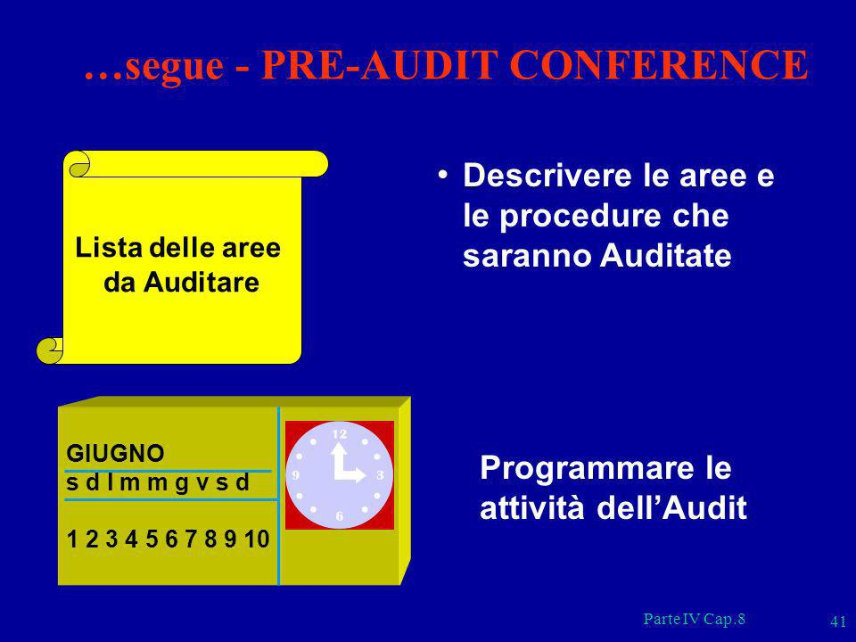 …segue - PRE-AUDIT CONFERENCE