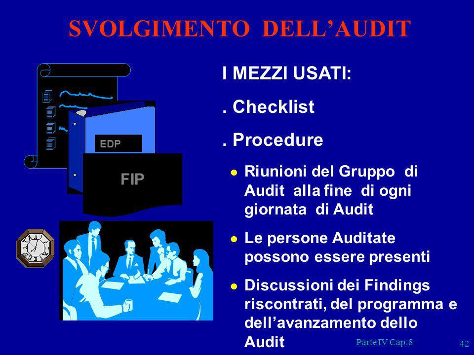 SVOLGIMENTO DELL'AUDIT