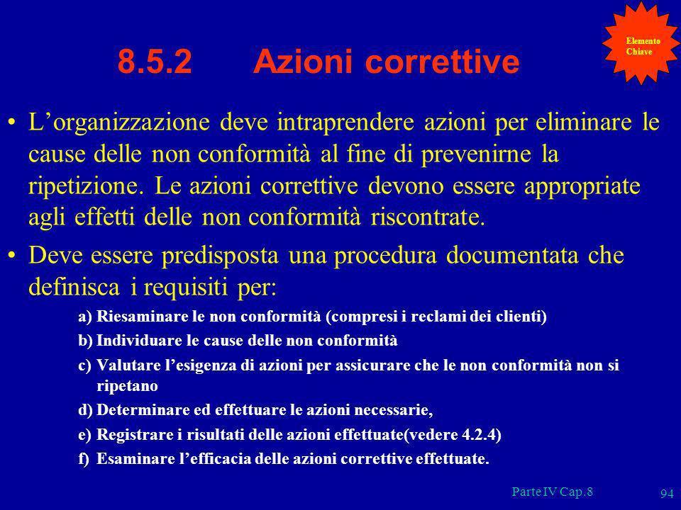 Elemento Chiave. 8.5.2 Azioni correttive.
