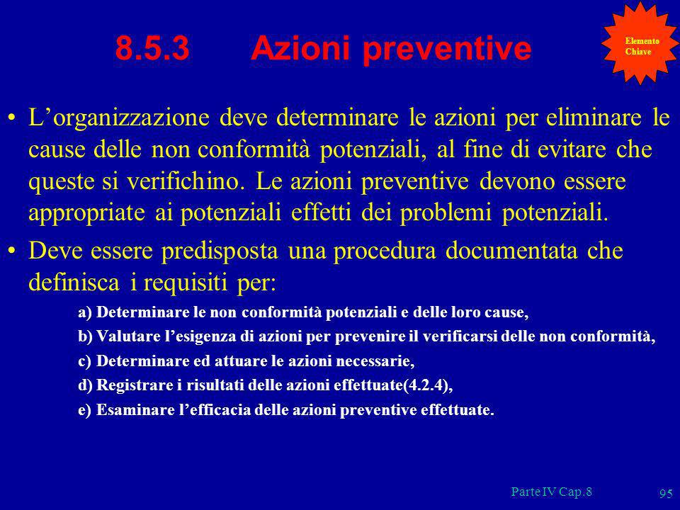 ElementoChiave. 8.5.3 Azioni preventive.
