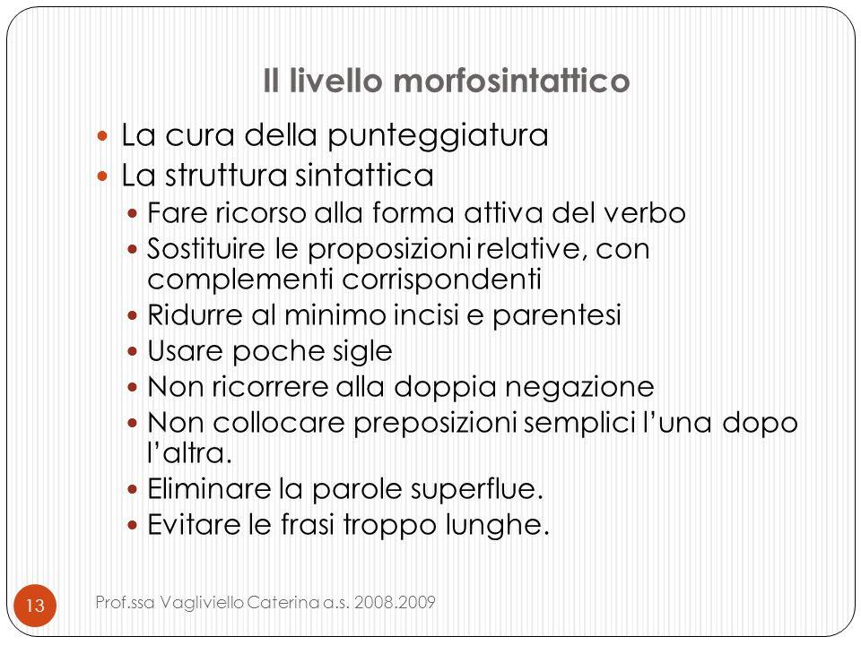 Il livello morfosintattico