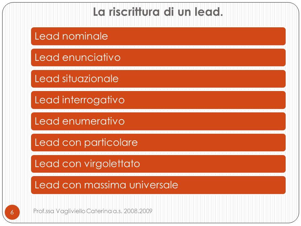 La riscrittura di un lead.