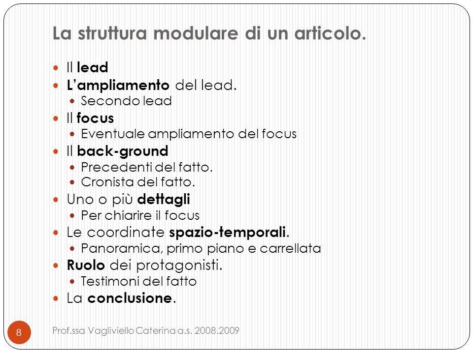 La struttura modulare di un articolo.