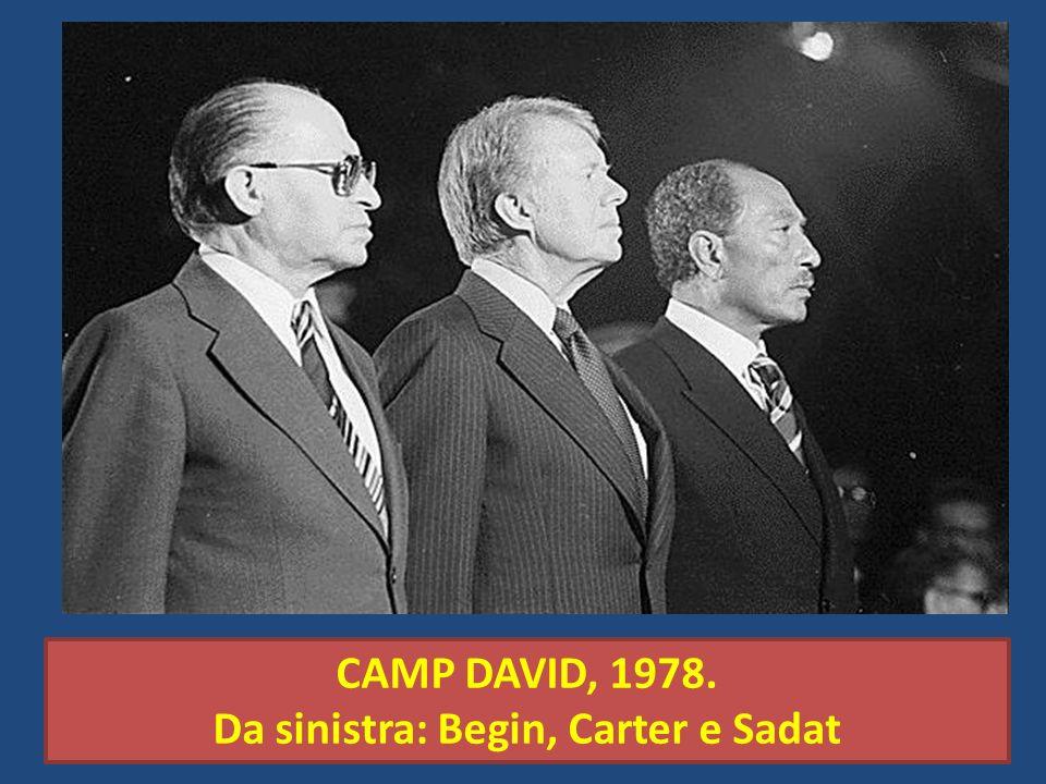 Da sinistra: Begin, Carter e Sadat