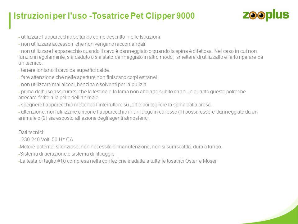 Istruzioni per l uso -Tosatrice Pet Clipper 9000