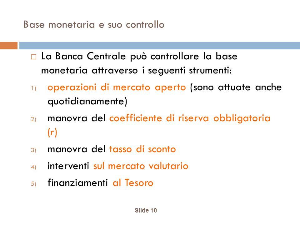 Base monetaria e suo controllo