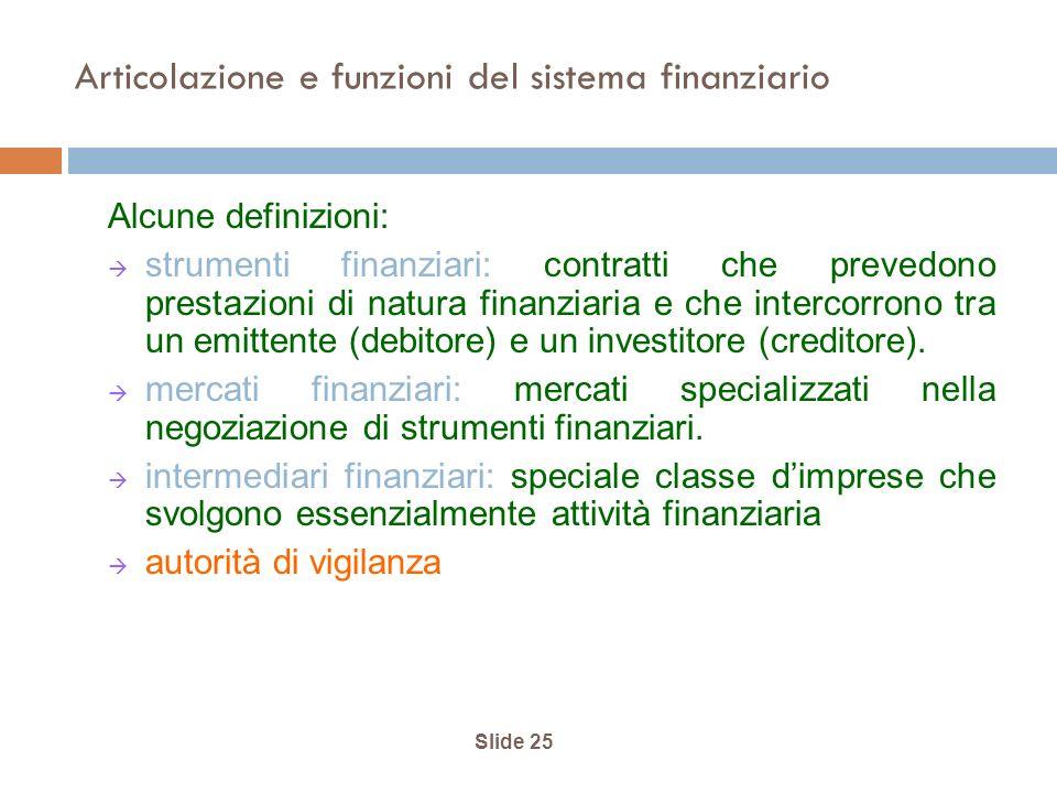 Articolazione e funzioni del sistema finanziario