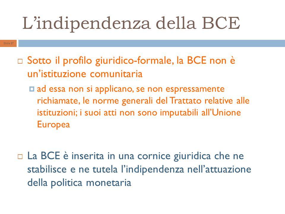 L'indipendenza della BCE