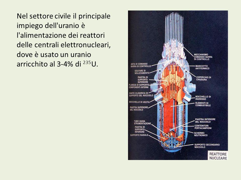 Nel settore civile il principale impiego dell uranio è l alimentazione dei reattori delle centrali elettronucleari, dove è usato un uranio arricchito al 3-4% di 235U.