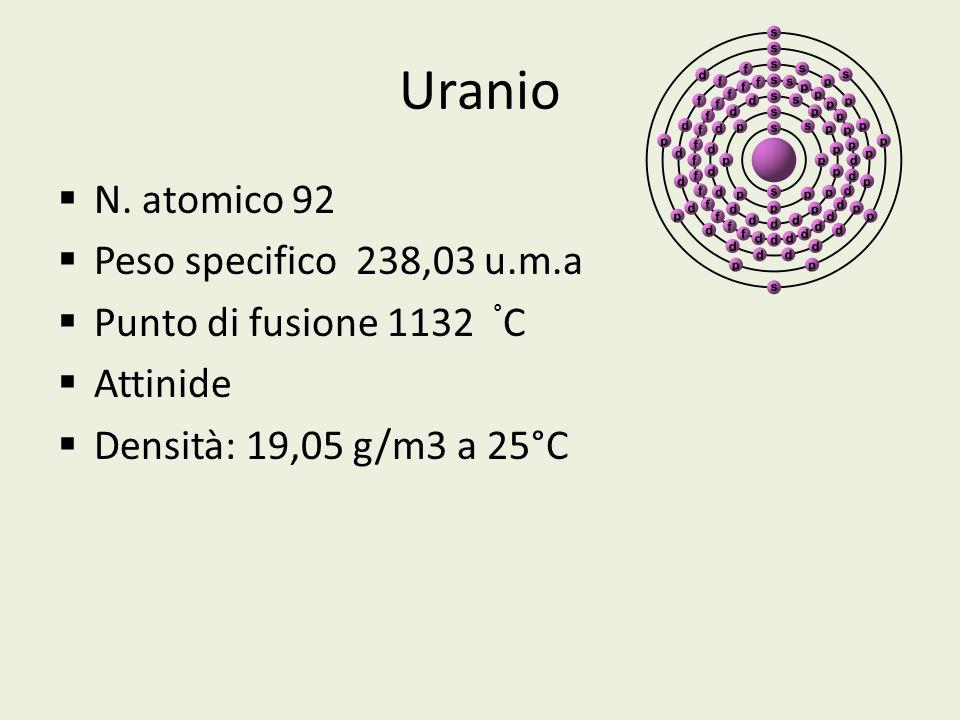 Uranio N. atomico 92 Peso specifico 238,03 u.m.a