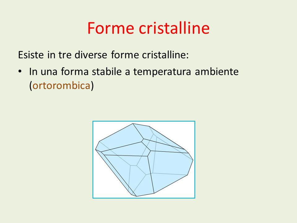 Forme cristalline Esiste in tre diverse forme cristalline: