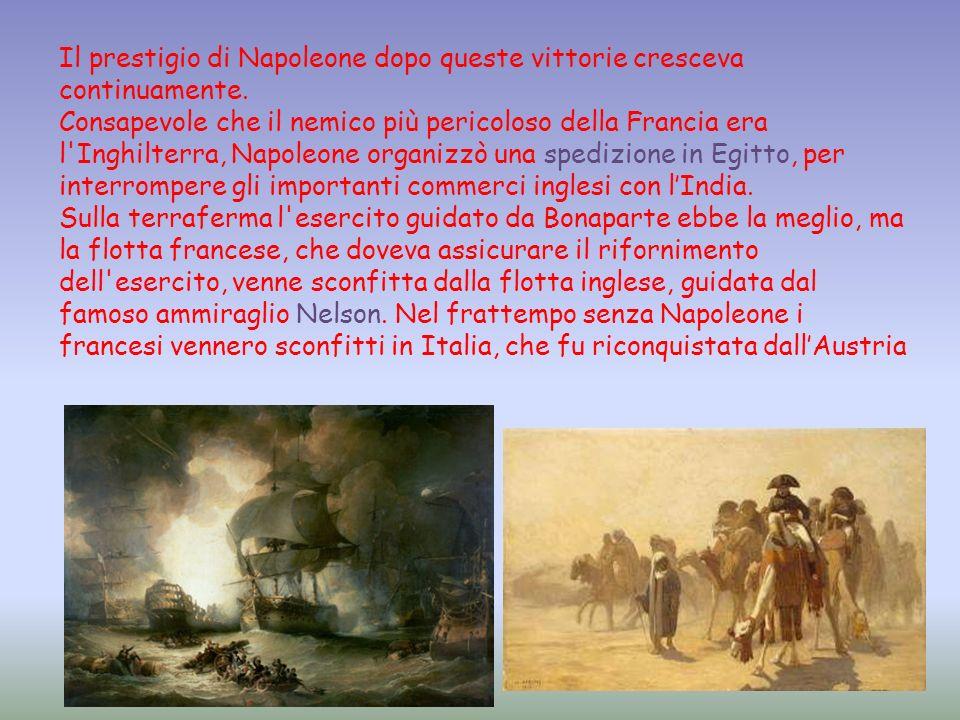 Il prestigio di Napoleone dopo queste vittorie cresceva continuamente.