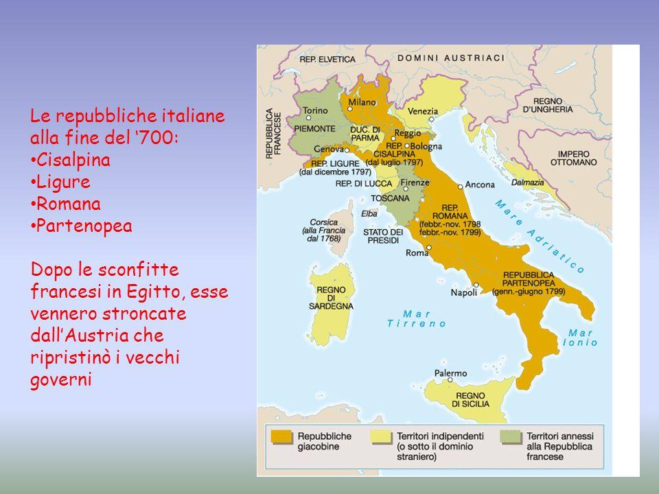 Le repubbliche italiane alla fine del '700: