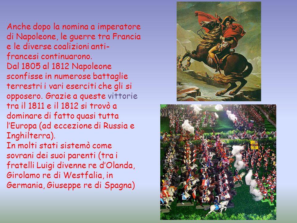 Anche dopo la nomina a imperatore di Napoleone, le guerre tra Francia e le diverse coalizioni anti-francesi continuarono.
