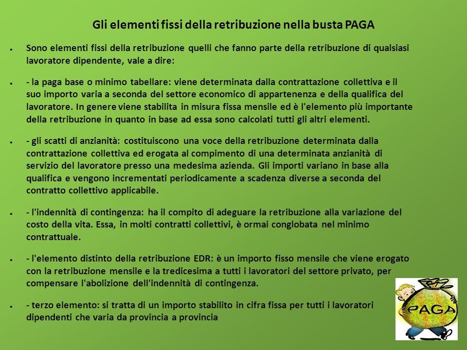 Gli elementi fissi della retribuzione nella busta PAGA