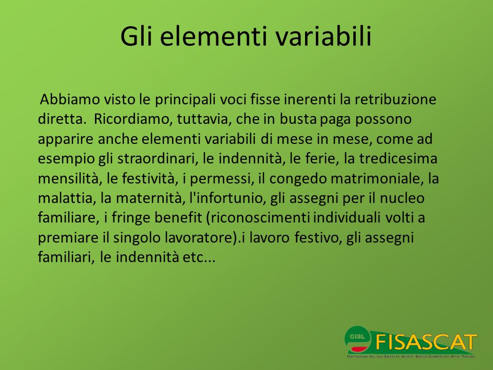 Gli elementi variabili