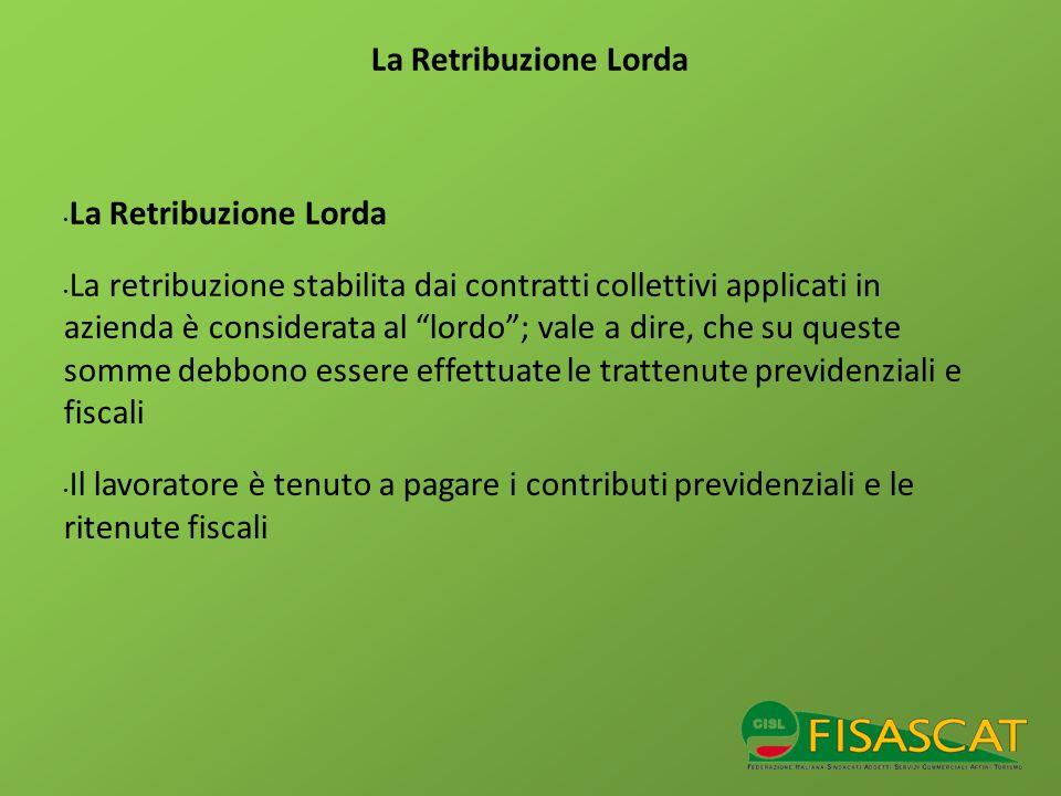 La Retribuzione Lorda La Retribuzione Lorda.