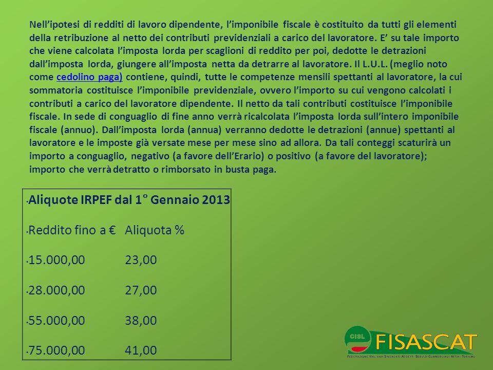 Aliquote IRPEF dal 1° Gennaio 2013 Reddito fino a € Aliquota %