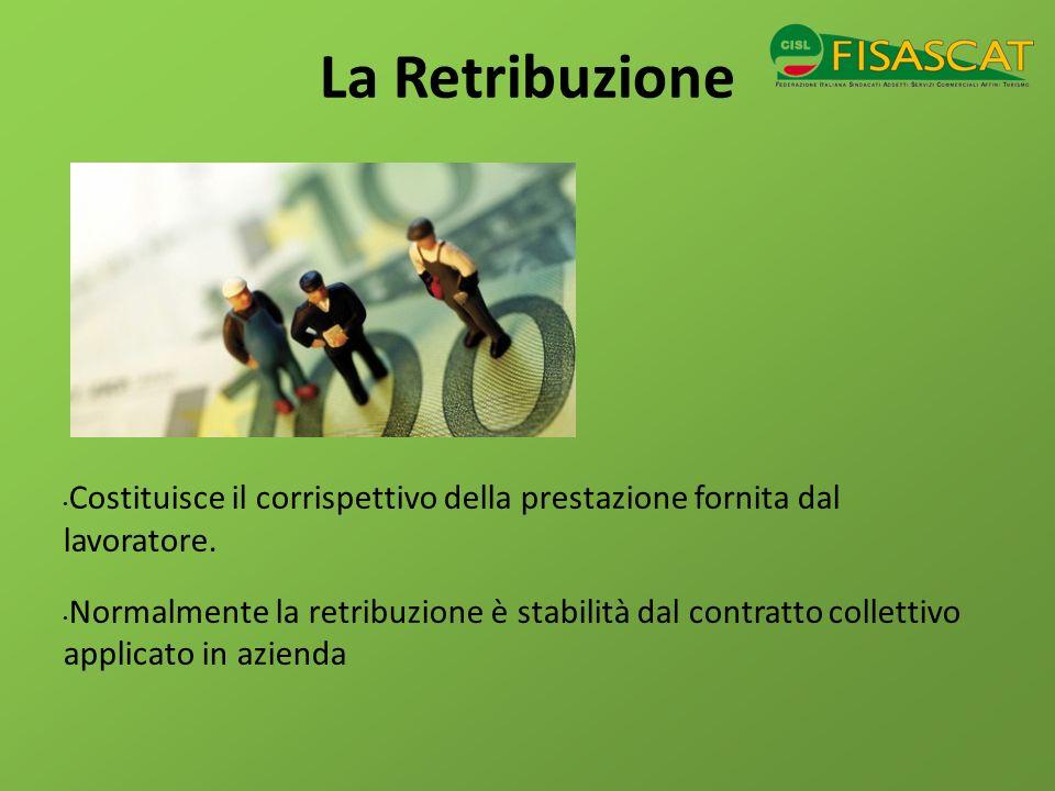 La Retribuzione Costituisce il corrispettivo della prestazione fornita dal lavoratore.
