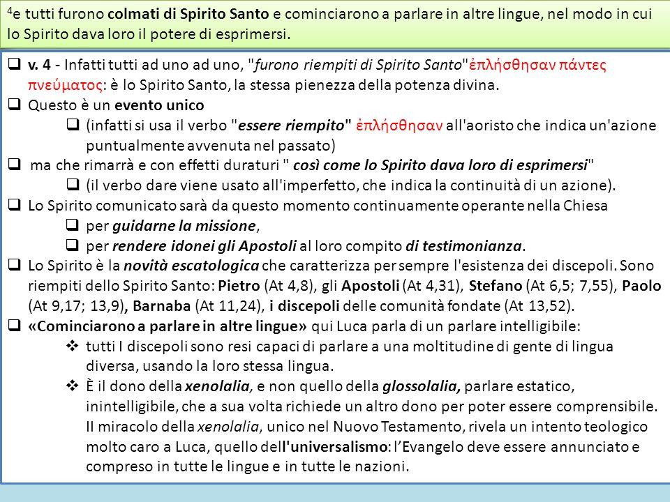4e tutti furono colmati di Spirito Santo e cominciarono a parlare in altre lingue, nel modo in cui lo Spirito dava loro il potere di esprimersi.
