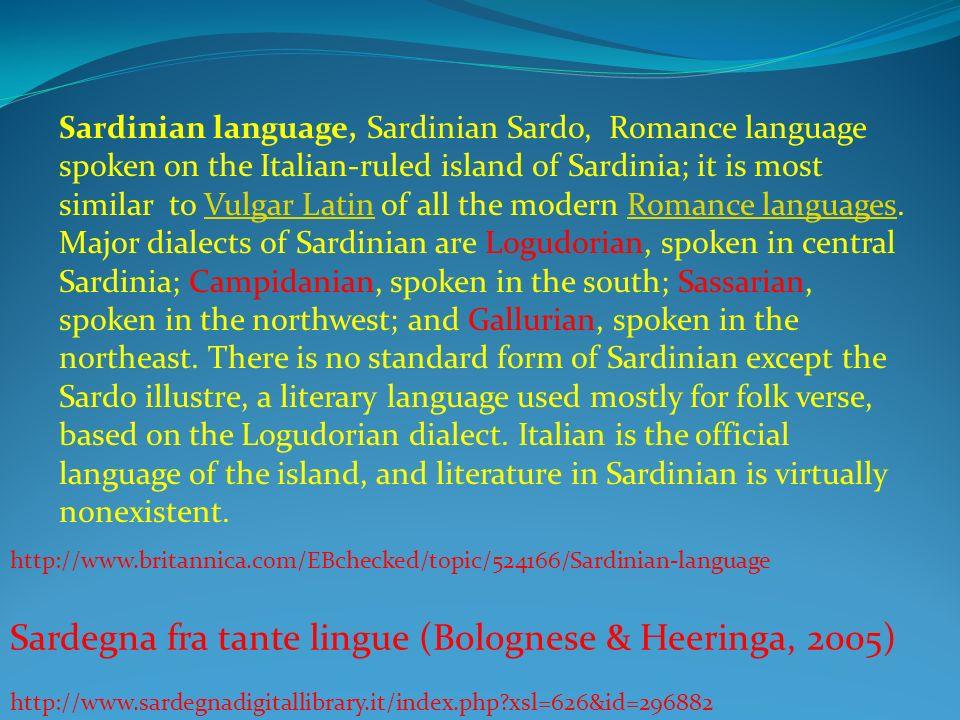 Sardegna fra tante lingue (Bolognese & Heeringa, 2005)