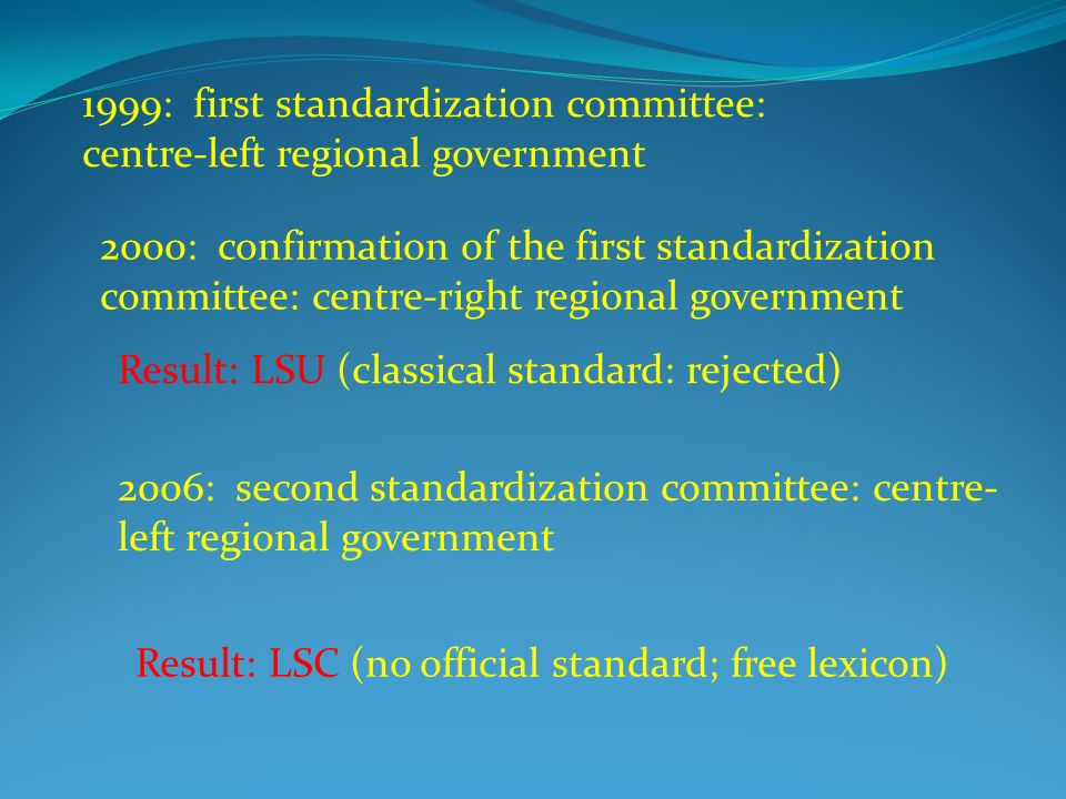 1999: first standardization committee: