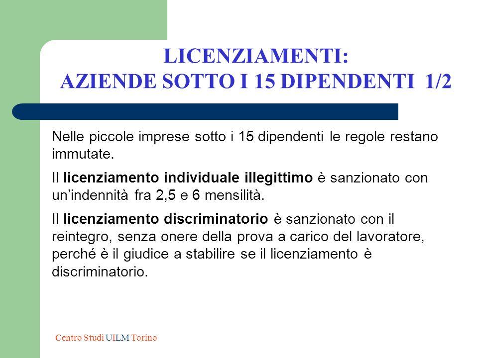 AZIENDE SOTTO I 15 DIPENDENTI 1/2