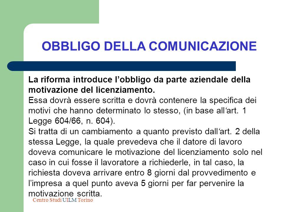 OBBLIGO DELLA COMUNICAZIONE