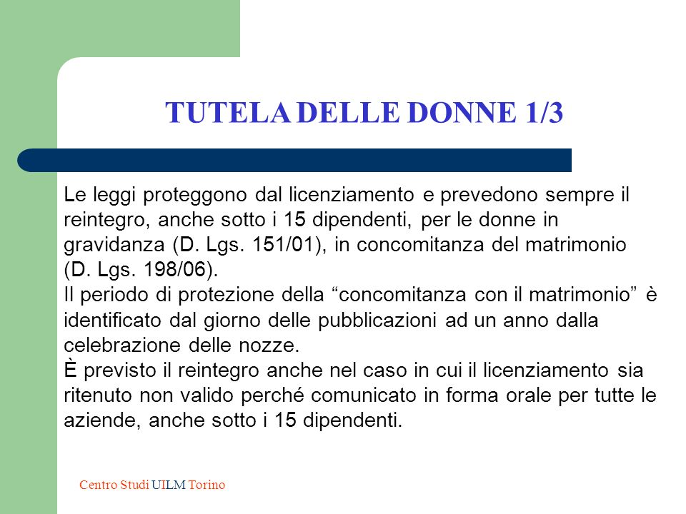 TUTELA DELLE DONNE 1/3