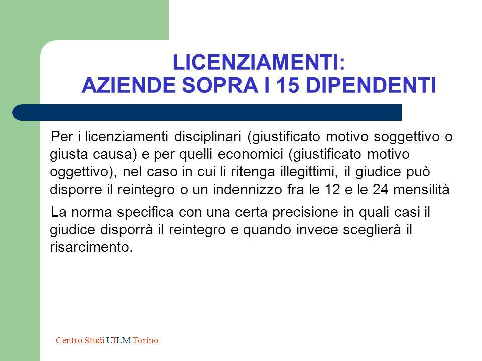 LICENZIAMENTI: AZIENDE SOPRA I 15 DIPENDENTI