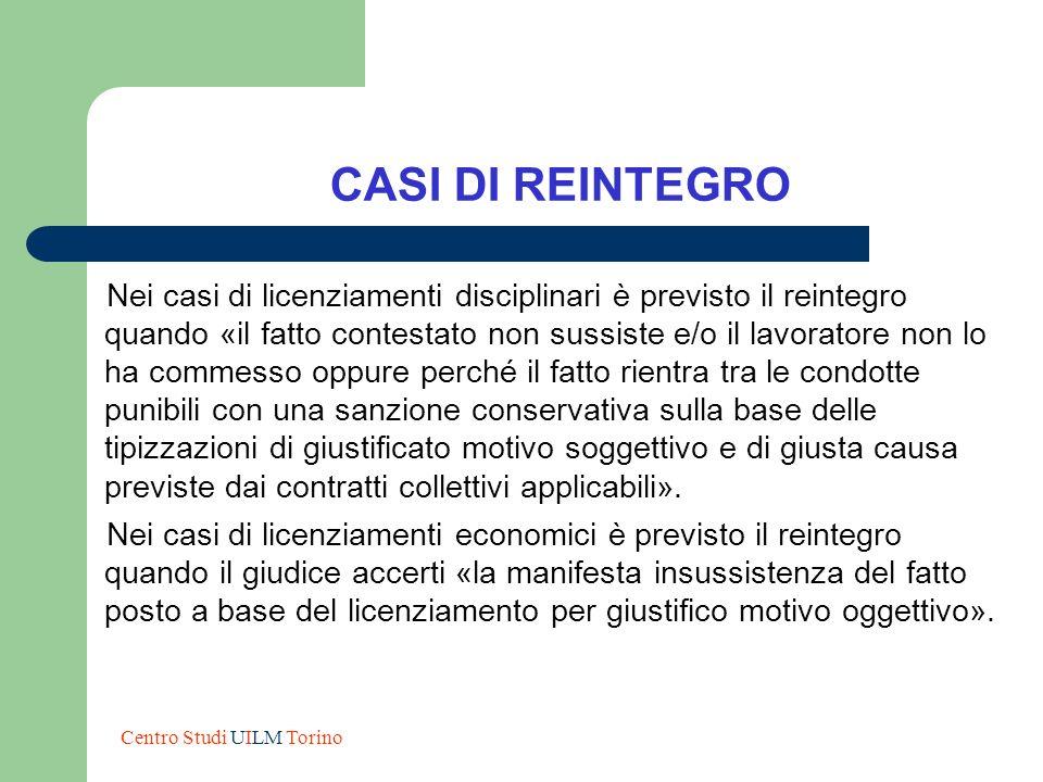CASI DI REINTEGRO