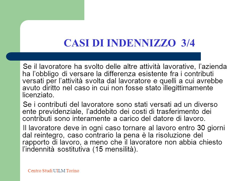 CASI DI INDENNIZZO 3/4