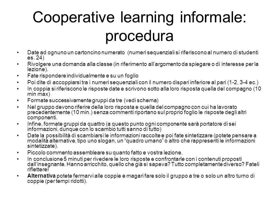 Cooperative learning informale: procedura