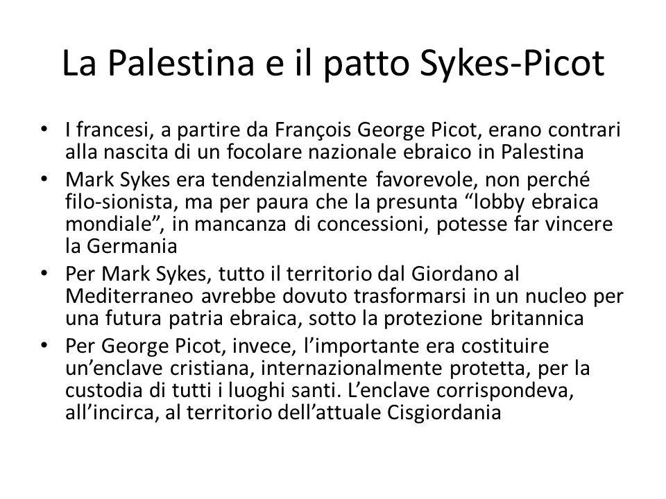 La Palestina e il patto Sykes-Picot