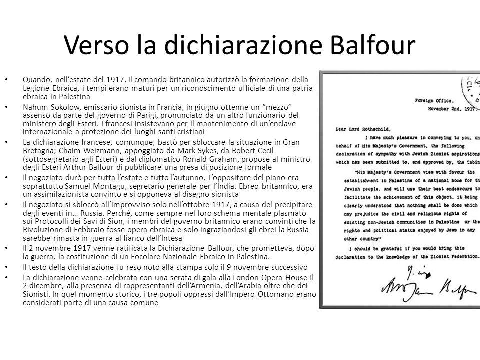 Verso la dichiarazione Balfour