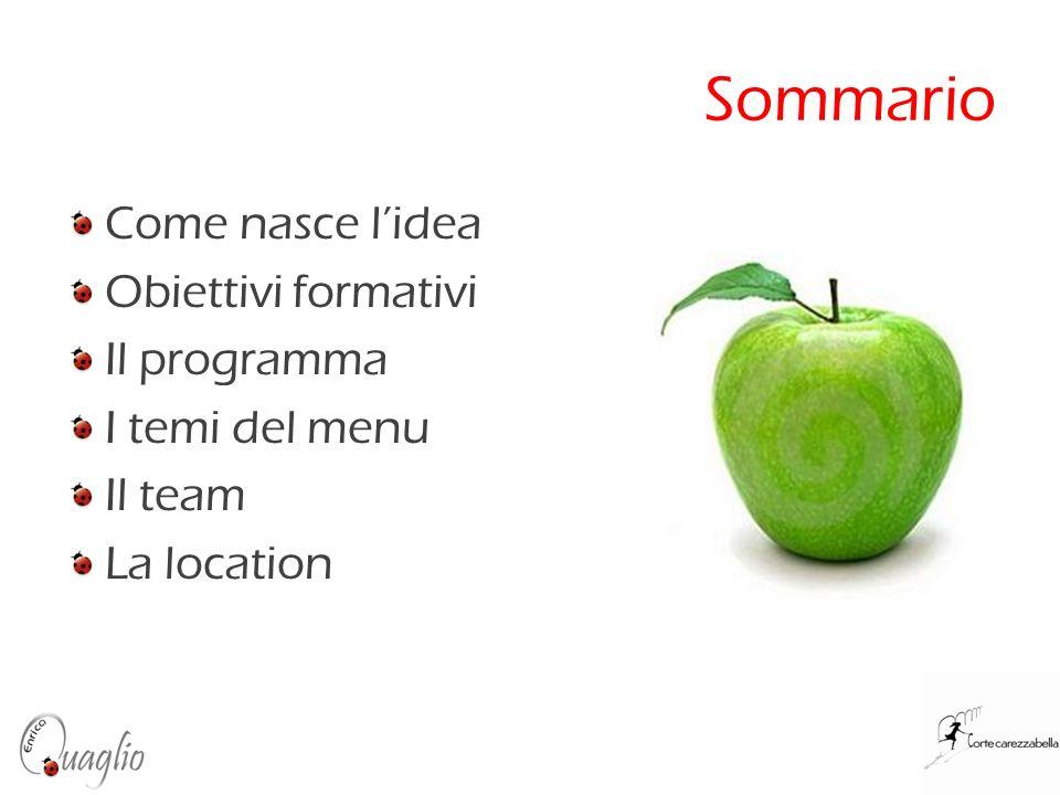 Sommario Come nasce l'idea Obiettivi formativi Il programma