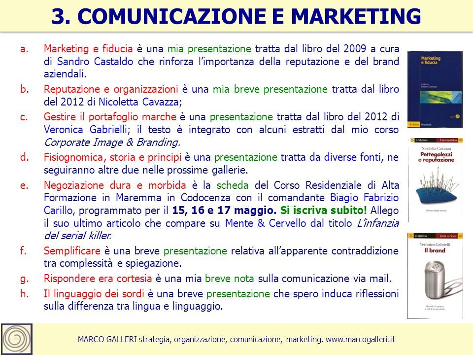 3. COMUNICAZIONE E MARKETING