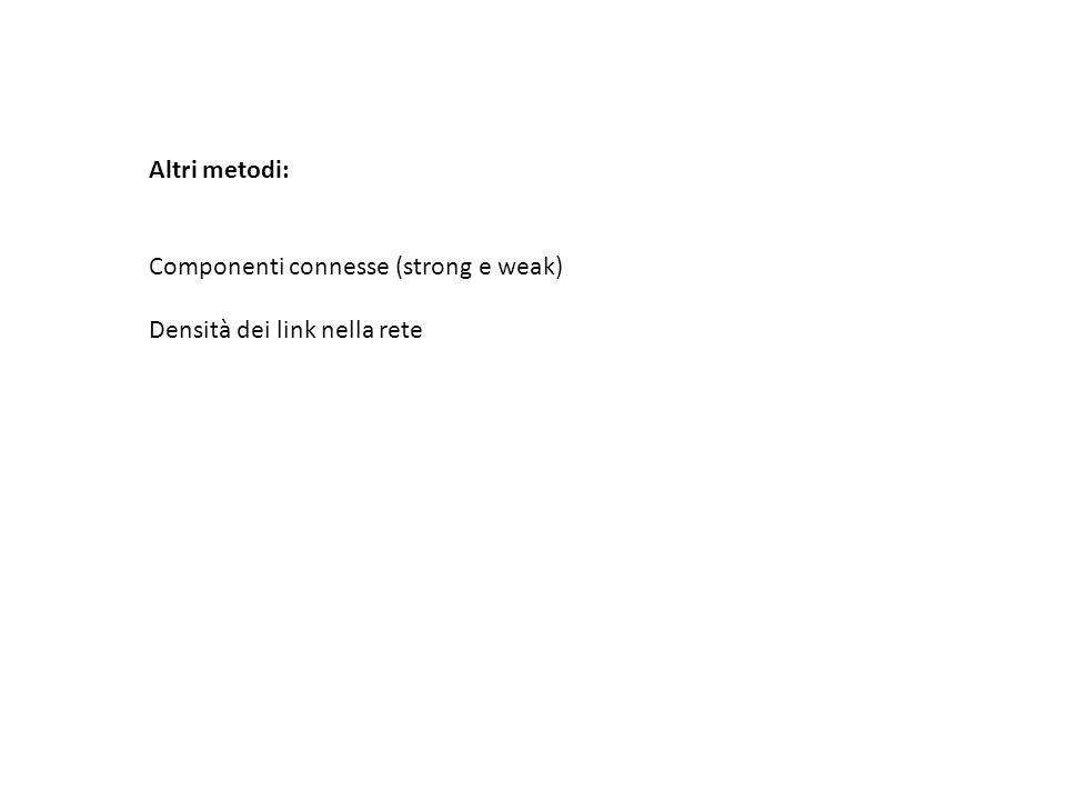 Altri metodi: Componenti connesse (strong e weak) Densità dei link nella rete