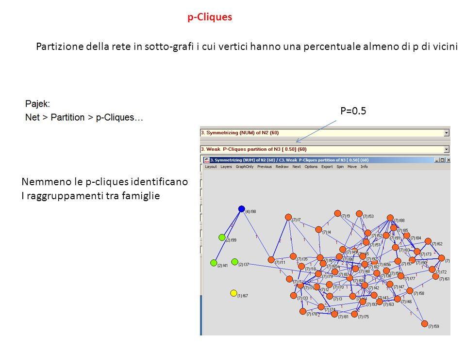 p-Cliques Partizione della rete in sotto-grafi i cui vertici hanno una percentuale almeno di p di vicini.