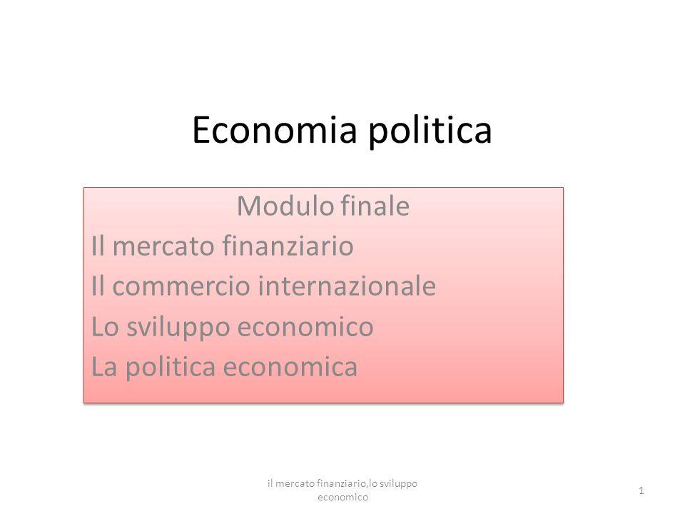 il mercato finanziario, lo sviluppo economico