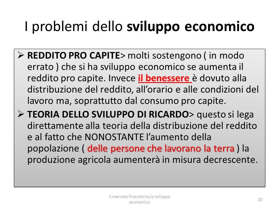 I problemi dello sviluppo economico