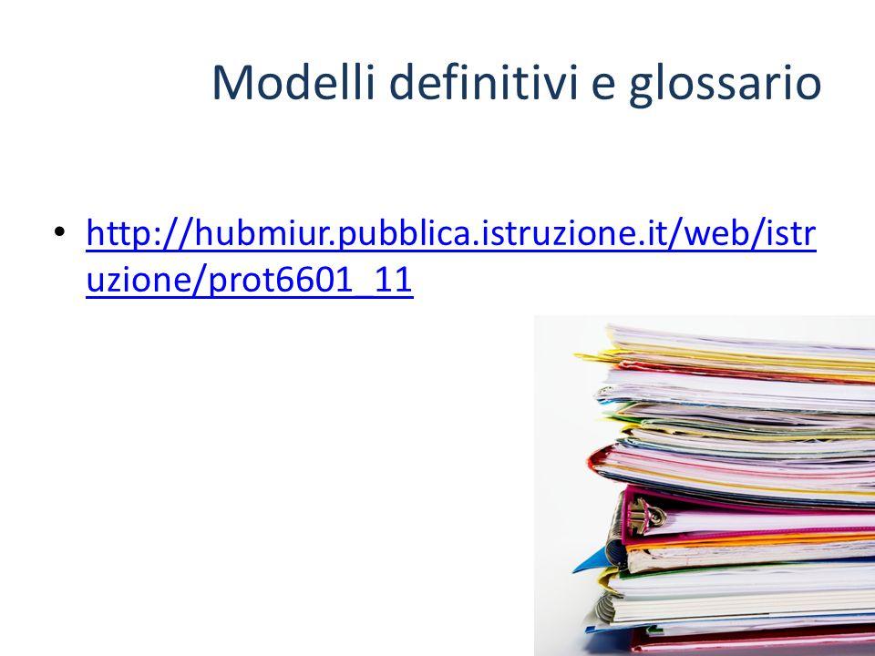 Modelli definitivi e glossario