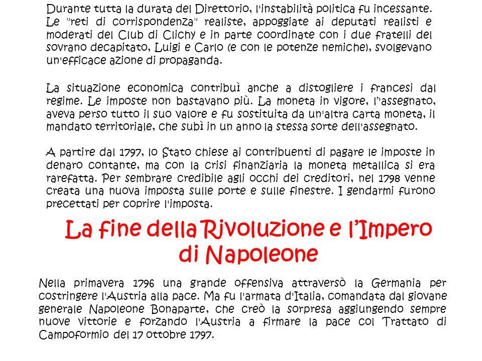 La fine della Rivoluzione e l'Impero di Napoleone