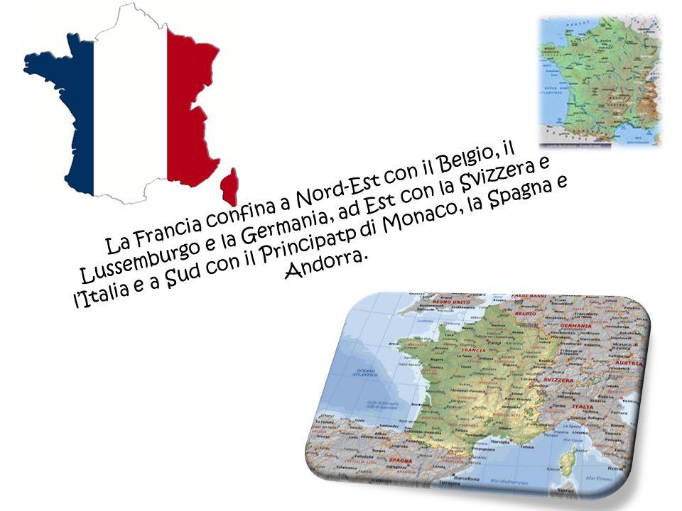 La Francia confina a Nord-Est con il Belgio, il Lussemburgo e la Germania, ad Est con la Svizzera e l'Italia e a Sud con il Principatp di Monaco, la Spagna e Andorra.