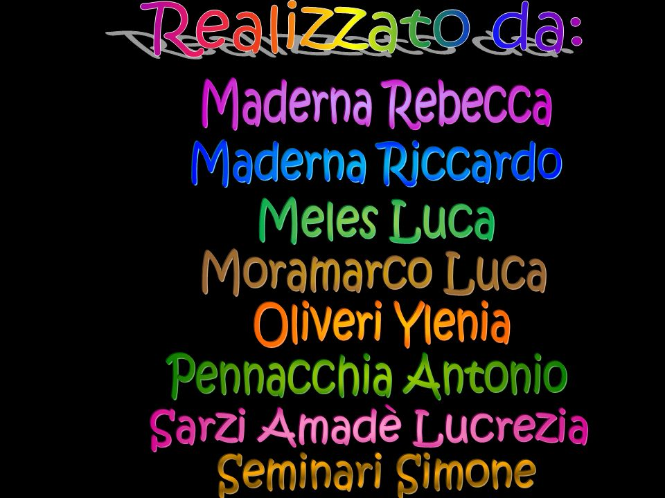 Realizzato da:Maderna Rebecca. Maderna Riccardo. Meles Luca. Moramarco Luca. Oliveri Ylenia. Pennacchia Antonio.