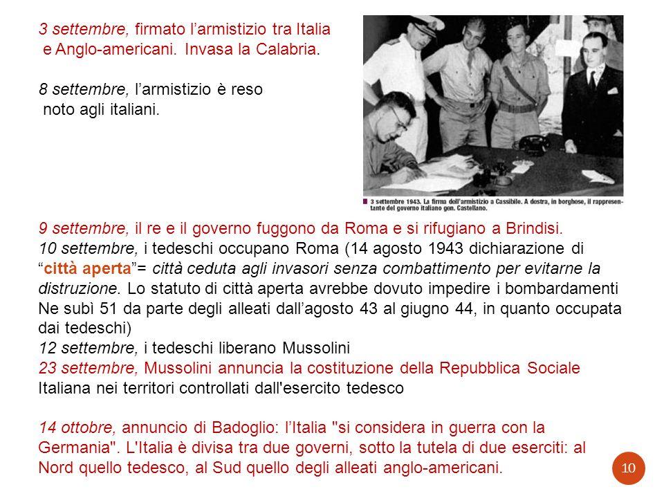 3 settembre, firmato l'armistizio tra Italia