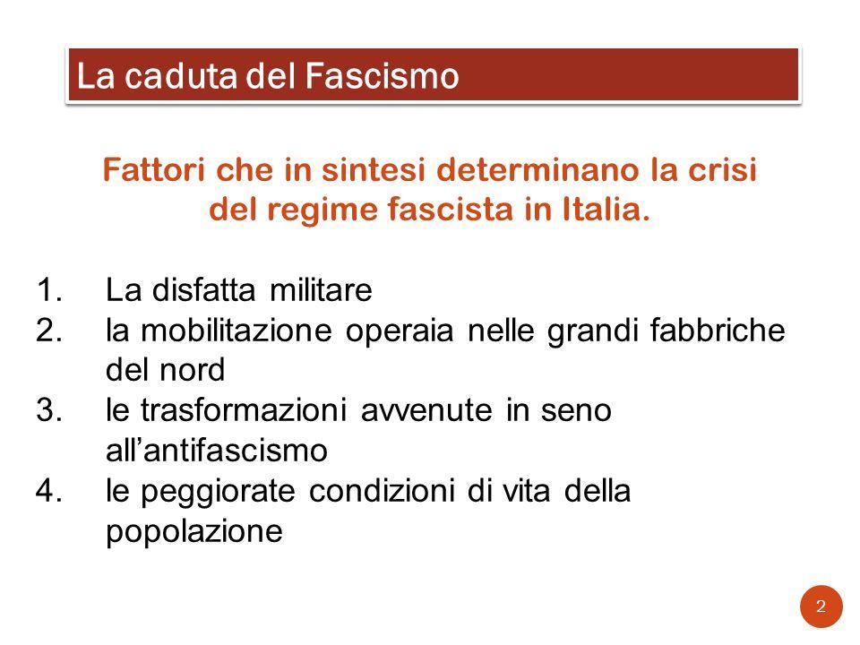 La caduta del Fascismo Fattori che in sintesi determinano la crisi