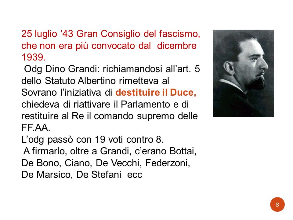 25 luglio '43 Gran Consiglio del fascismo, che non era più convocato dal dicembre 1939.