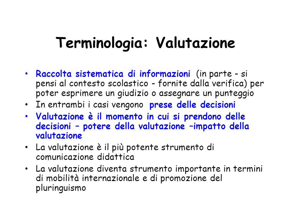 Terminologia: Valutazione