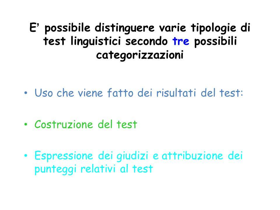 E' possibile distinguere varie tipologie di test linguistici secondo tre possibili categorizzazioni
